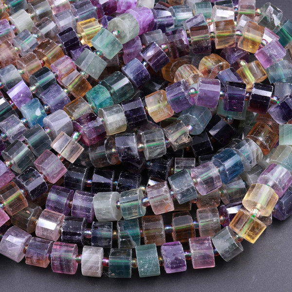 "Natural Fluorite Faceted Rondelle Tube Beads Sharp Facets Laser Diamond Cut Rainbow Purple Green Blue Yellow Gemstone Beads 16"" Strand"