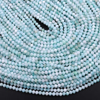 "Brazilian Amazonite Faceted Round Beads 3mm Micro Faceted  Stunning Natural Soft Blue Laser Diamond Cut Gemstone 16"" Strand"
