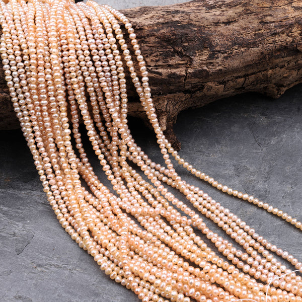 "Genuine Freshwater Peach Seed Pearls 3mm 4mm Off Round Iridescent Pearl Beads 16"" Strand"