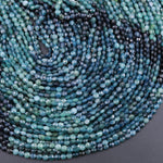 "Natural Paraiba Blue Tourmaline Faceted 4mm 5mm Coin Beads Diamond Cut Gemstone 16"" Strand"