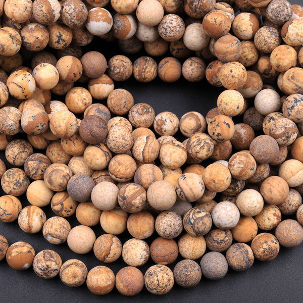 "Matte Picture Jasper 4mm 6mm 8mm 10mm 12mm Round Beads Desert Jasper Earthy Yellow Brown Jasper 16"" Strand"