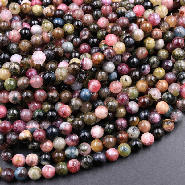 "Natural Multicolor Watermelon Pink Green Yellow Tourmaline Round Beads 4mm 6mm 8mm 10mm Colorful Real Genuine Gemstone 15.5"" Strand"