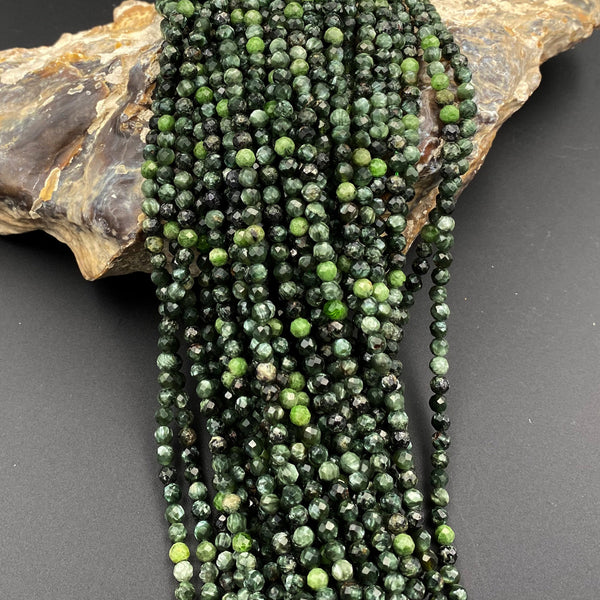 "Genuine Natural Seraphinite Faceted Round Beads 2mm 3mm 4mm Micro Diamond Cut Green Gemstone From Russia 15.5"" Strand"