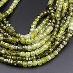 "AAA Natural Green Garnet 5mm Faceted Cube Square Dice Beads 15.5"" Strand"