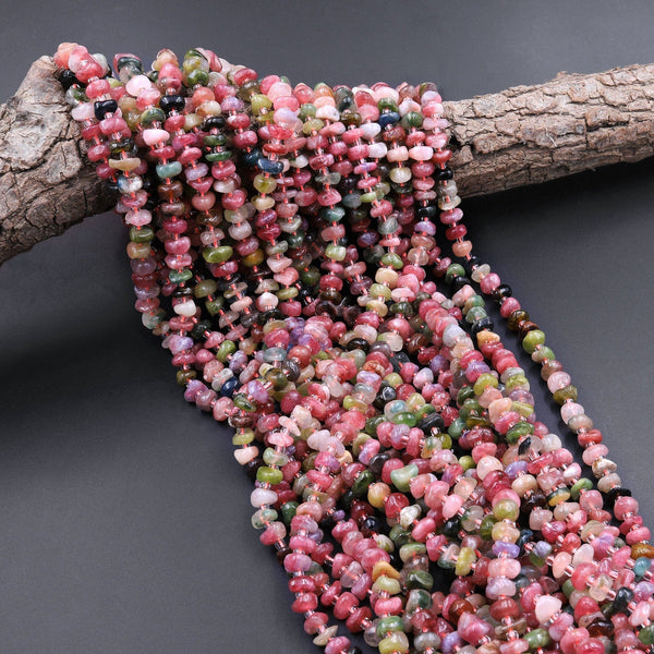 "Natural Pink Green Tourmaline Beads Freeform Center Drilled Rondelle Disc Organic Cut Nuggets 15.5"" Strand"