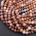 "Multicolor Silvery Gray Peach Moonstone 6mm 8mm 10mm Round Beads Polished Smooth Plain Round Gemstone 15.5"" Strand"