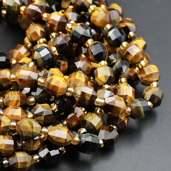 "Natural Tiger Eye 8mm Beads Faceted Energy Prism Double Point Cut 15.5"" Strand"