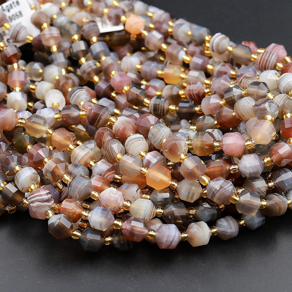 "Natural Botswana Agate 8mm Beads Faceted Energy Prism Double Point Cut 15.5"" Strand"
