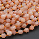 "AAA Peach Moonstone 8mm Beads Faceted Energy Prism Double Point Cut 15.5"" Strand"