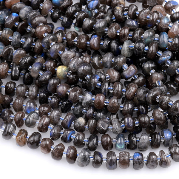 "Natural Black Labradorite Beads Freeform Center Drilled Rondelle Disc Organic Cut Pebble Nuggets W Blue Flashes 15.5"" Strand"