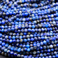 "Micro Faceted Natural Blue Lapis 2mm 3mm Round Beads 15.5"" Strand"