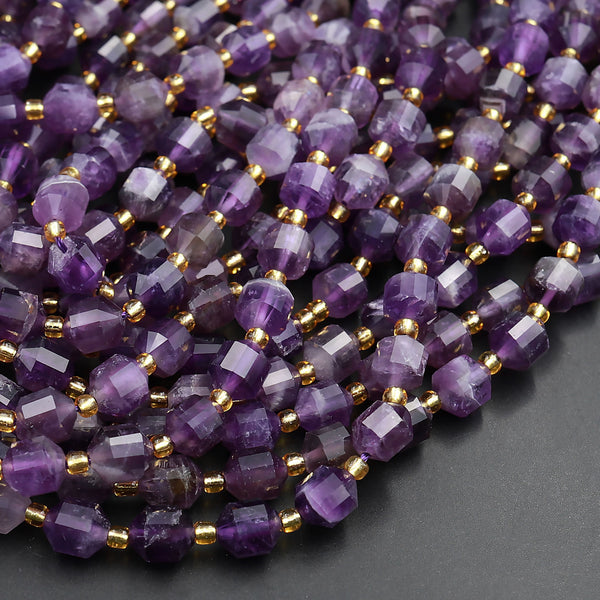 "AAA Natural Purple Amethyst 8mm Beads Faceted Energy Prism Double Point Cut 15.5"" Strand"