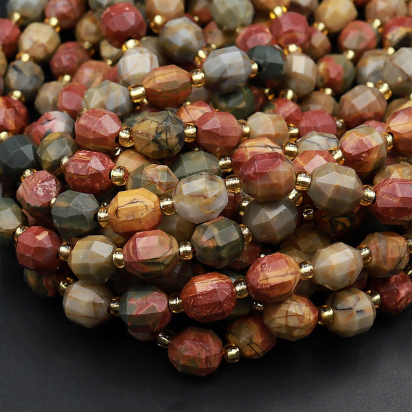 "Red Creek Jasper 8mm Beads Faceted Energy Prism Double Terminated Points Aka Mutlicolor Picasso Jasper 15.5"" Strand"