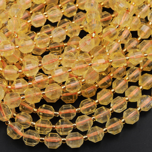 "Natural Golden Citrine 8mm Beads Faceted Energy Prism Double Terminated Points 15.5"" Strand"