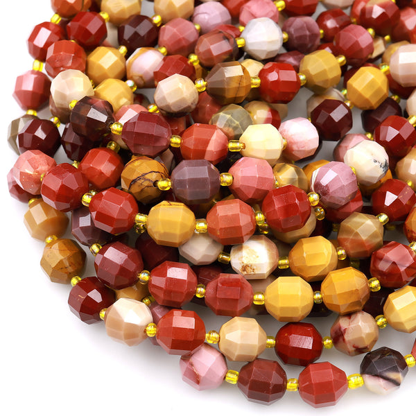 "Australian Mookaite Jasper 8mm 10mm Beads Faceted Energy Prism Double Point Cut Gorgeous Sunset Colors Maroon Red Yellow Tan 15.5"" Strand"