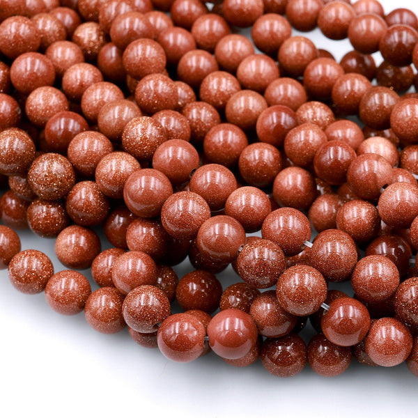"Sparkling Gold Sandstone Aka Goldstone 4mm 6mm 8mm 10mm Smooth Round Beads 15"" Strand"