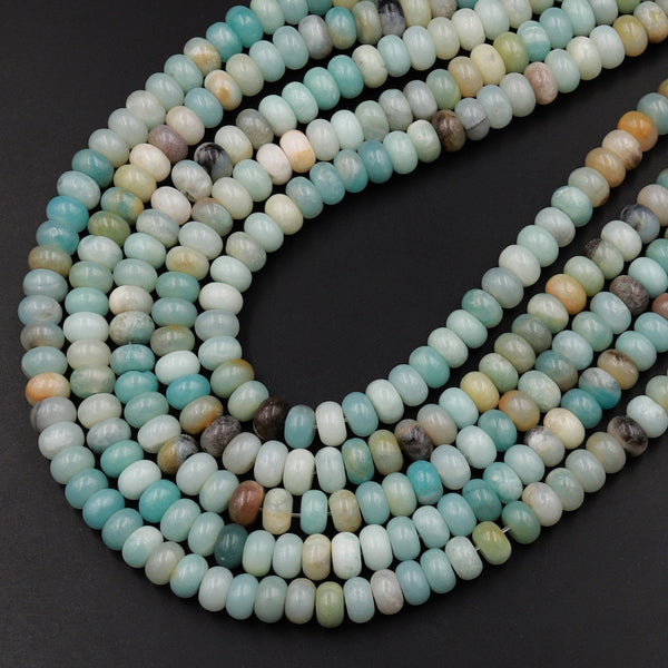 "Natural Amazonite Smooth Rondelle 6x4mm 8x5mm Beads 15.5"" Strand"