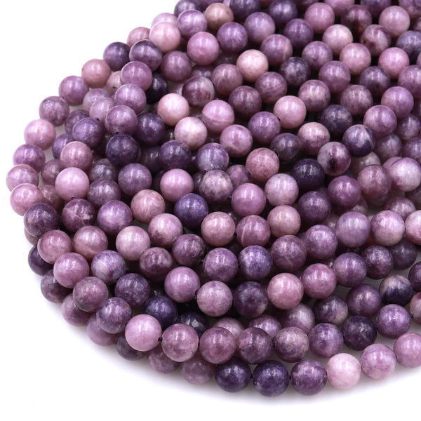 "Natural Violet Purple Lepidolite 6mm 8mm 10mm Round Beads 15.5"" Strand"