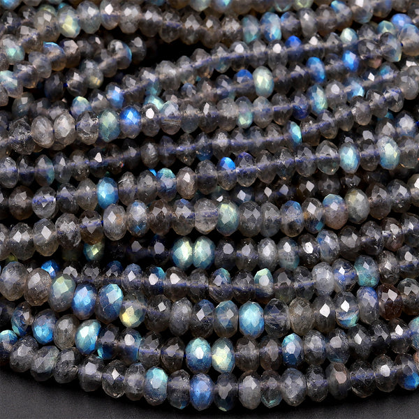 4mm 6mm 8m 10mm Natural Faceted Dark Gray Round Labradorite Beads for Jewelry