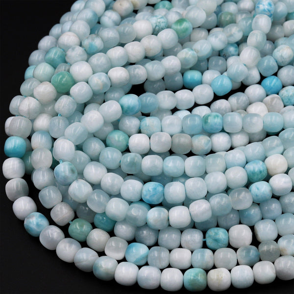 "Natural Larimar 6mm 7mm 8mm Rounded Barrel Beads High Quality Real Genuine Natural Blue Larimar Gemstone 15.5"" Strand"