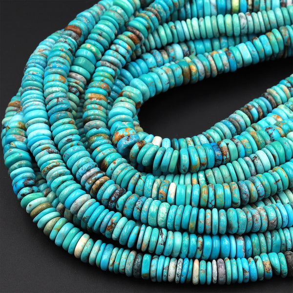 "Genuine 100% Natural Arizona Turquoise Heishi Beads 7mm 8mm 9mm 10mm Real Natural Blue Green Turquoise Beads 15.5"" Strand"