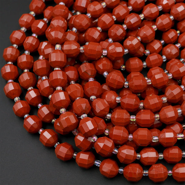 "Natural Red Jasper 8mm 10mm Beads Faceted Energy Prism Double Terminated Points 15.5"" Strand"