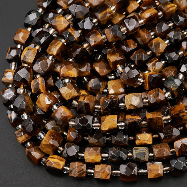 "Natural Tiger's Eye Faceted 8mm Dice Cube Square Beads 15.5"" Strand"