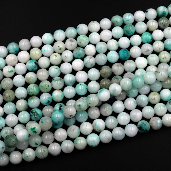 "Natural Sky Mountain Jade 6mm 8mm 10mm 12mm Round Beads Real Genuine Jade Gemstone from Vietnam 15.5"" Strand"