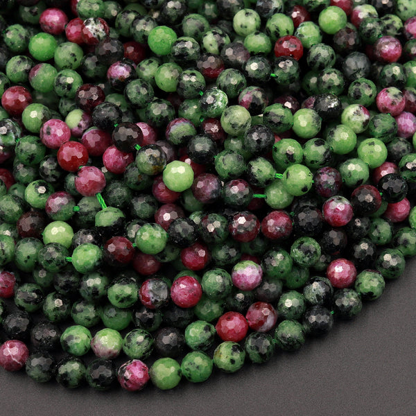 "Faceted Natural Ruby Zoisite 6mm Round Beads 15.5"" Strand"