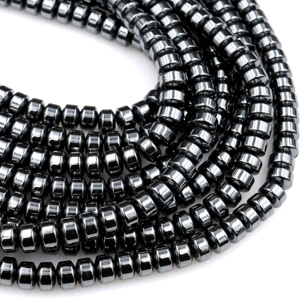 "Natural Black Hematite Smooth Rondelle beads 4mm 6mm 8mm Heishi 15.5"" Strand"