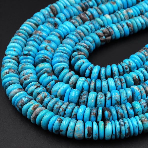 "Genuine 100% Natural Arizona Turquoise Large Heishi Beads 8mm 10mm Rondelle Disc Wheel Real Natural Blue Turquoise Beads Full 15.5"" Strand"