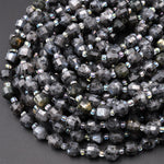 "Natural Larvikite 8mm 10mm Beads Faceted Energy Prism Double Terminated Points Aka Norway Moonstone 15.5"" Strand"