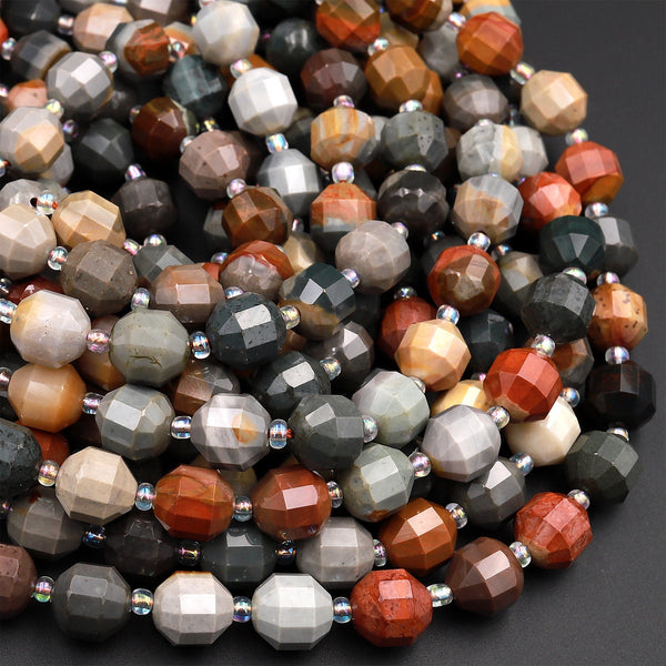 "Natural Landscape Ocean Jasper 8mm 10mm Beads Faceted Energy Prism Double Terminated Points 15.5"" Strand"