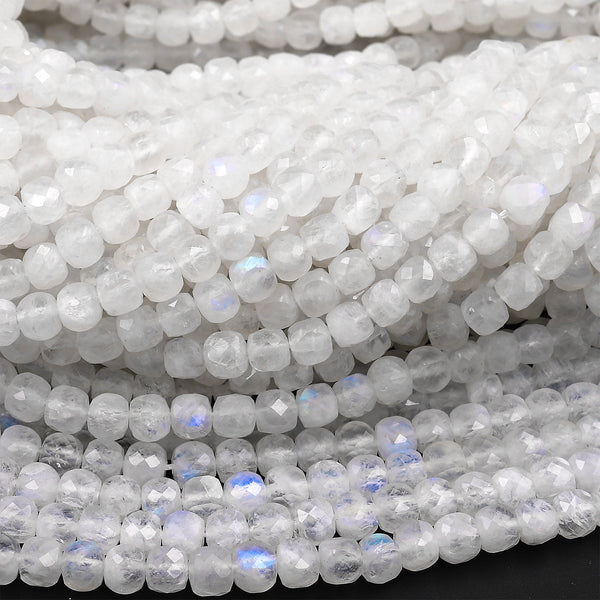 "AAA Natural Blue Rainbow Moonstone Faceted 4mm Cube Dice Square Beads Micro Faceted Laser Diamond Cut 15.5"" Strand"
