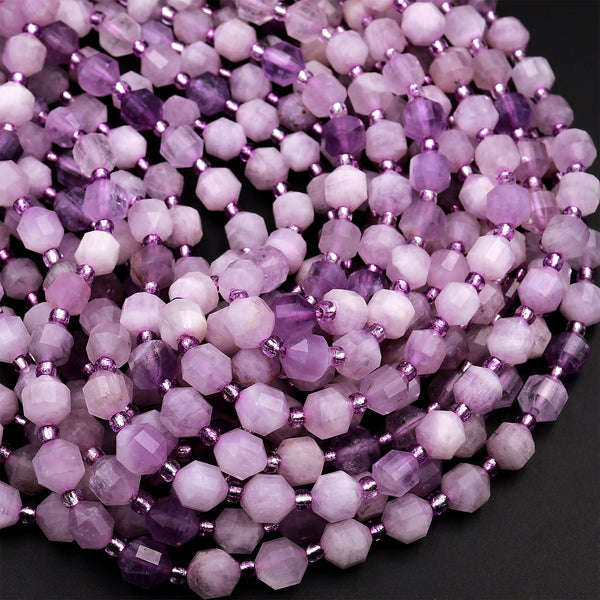 "Faceted Natural Violet Purple Jade 6mm Beads Energy Prism Double Terminated Point Cut 15.5"" Strand"