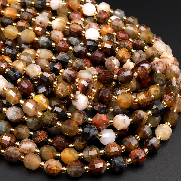 "Natural Pietersite 8mm Beads Faceted Energy Prism Double Terminated Point Cut 15.5"" Strand"