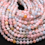 "Mutlicolor Aquamarine 4mm Smooth Round Beads Pastel Blue Aquamarine Pink Morganite Beryl Gemstone 15.5"" Strand"