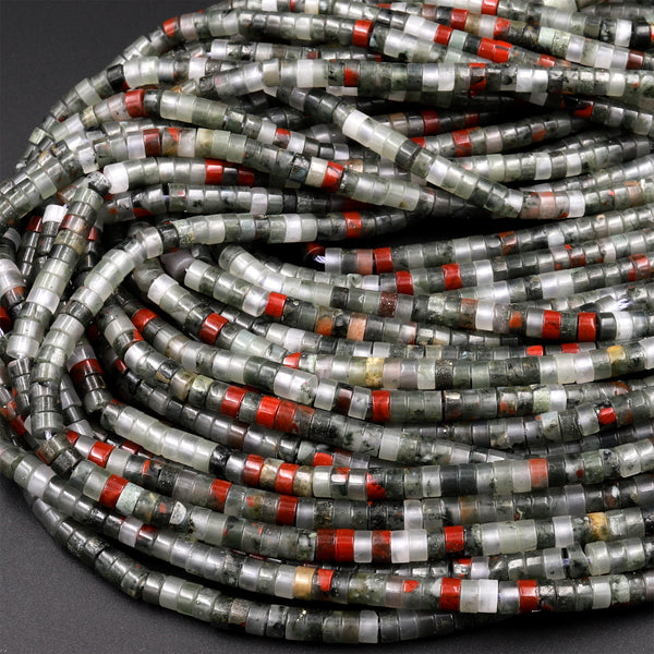 "Natural African Bloodstone 4mm Heishi Rondelle Beads 15.5"" Strand"