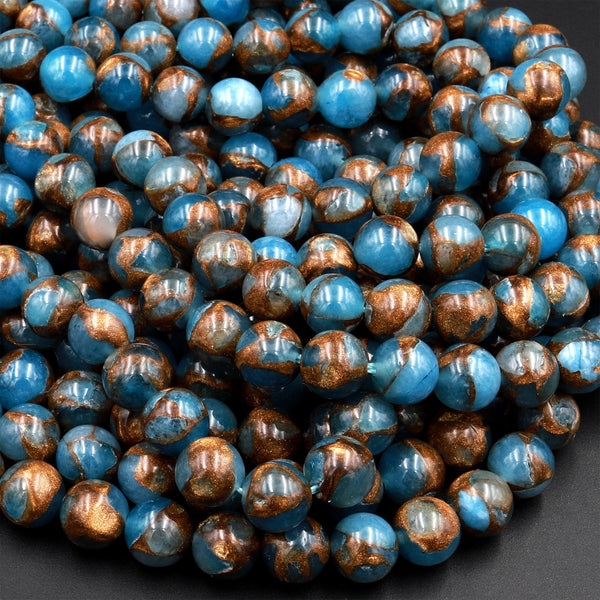 "Impression Jasper Smooth Round Beads 4mm 6mm 8mm 10mm Aka Copper Turquoise Jasper 15.5"" Strand"