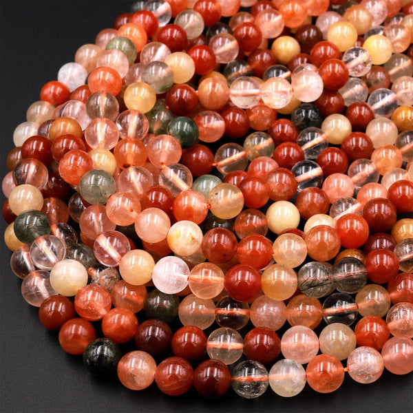 "Natural Red Yellow Green Phantom Rutile Quartz 6mm 8mm 10mm Round Beads Multi Color Quartz Crystal Gemstone 15.5"" Strand"
