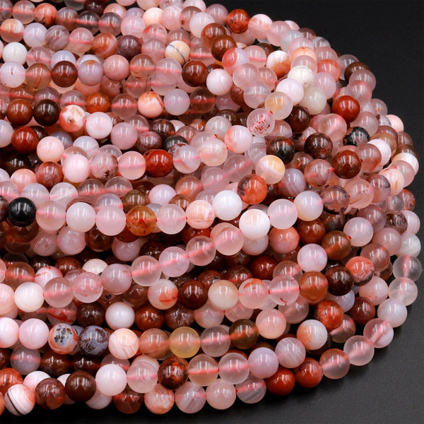 "Natural Cherry Agate 6mm 8mm Round Beads Translucent Red Pink Agate 15.5"" Strand"
