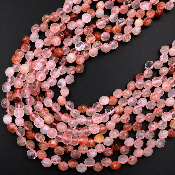 "Natural Lepidocrocite Hematoid Quartz Faceted 6mm Rounded Teardrop Beads Good For Earrings 16"" Strand"