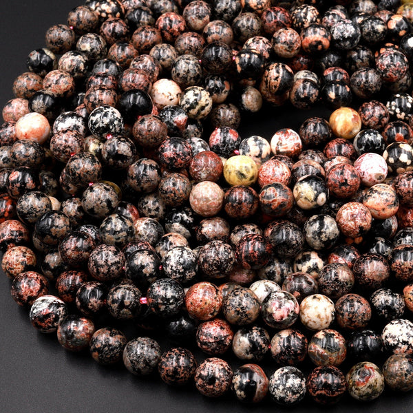 "Natural Cherry Blossom Jasper Beads 6mm 8mm 10mm Round Earthy Red Pink Black Beads 15.5"" Strand"