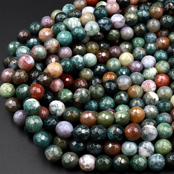 "Faceted Natural Indian Agate 4mm 6mm 8mm 10mm Round Beads Aka Fancy Jasper 15.5"" Strand"