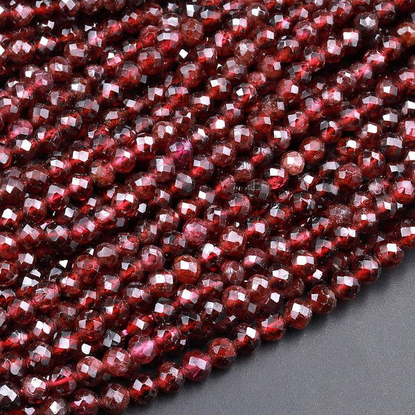 "Natural Scarlet Red Garnet Faceted 4mm Round Beads Gemstone 15.5"" Strand"