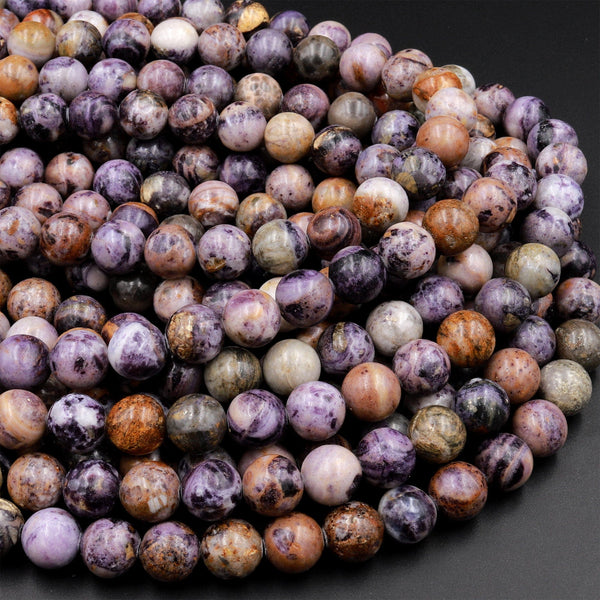 "Natural Petrified Fluorite Beads 6mm 8mm 10mm Round Beads Natural Purple Brown Gemstone Beads 15.5"" Strand"