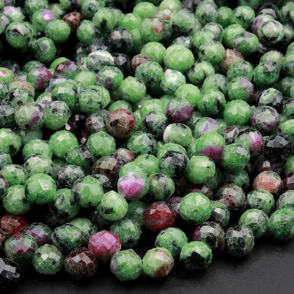 "Natural Ruby Zoisite Faceted 6mm Rounded Teardrop Beads Good For Earrings 16"" Strand"