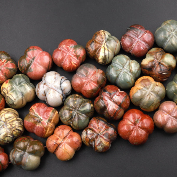 "Carved Red Creek Jasper Flower Beads Earthy Red Green Yellow Brown Natural Cherry Creek Multi-color Picasso Jasper 15.5"" Strand"