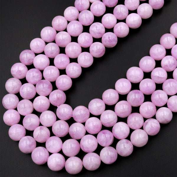 "AAA Natural Kunzite 4mm 6mm 8mm 10mm Smooth Round Beads Violet Purple Pink Gemstone Real Genuine Natural Kunzite 15.5"" Strand"