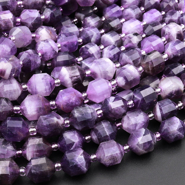 "Natural Purple Amethyst 8mm Beads Faceted Energy Prism Double Point Cut 15.5"" Strand"